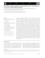 Tài liệu Báo cáo khoa học: Disulfide bridge regulates ligand-binding site selectivity in liver bile acid-binding proteins ppt