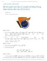 Tài liệu Đề thi tuyển sinh lớp 10 chuyên Lê Hồng Phong (Nam Định) năm học 2013-2014 potx
