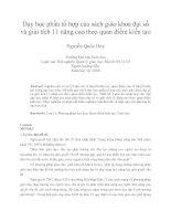 Dạy học phần tổ hợp của sách giáo khoa đại số và giải tích 11 nâng cao theo quan điểm kiến tạo