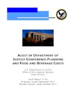 Tài liệu AUDIT OF DEPARTMENT OF JUSTICE CONFERENCE PLANNING AND FOOD AND BEVERAGE COSTS pptx