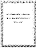Tài liệu Một số hướng dẫn khi đi du lịch Hong Kong Tuyến Hongkong – Disneyland ppt