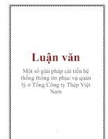 Tài liệu Luận văn: Một số giải pháp cải tiến hệ thống thông tin phục vụ quản lý ở Tổng Công ty Thép Việt Nam docx
