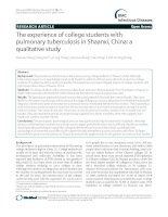 Tài liệu RTehseaerc he axrtipcleerience of college students with pulmonary tuberculosis in Shaanxi, China: a qualitative study pptx