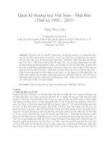 Quan hệ thương mại việt nam   nhật bản (thời kỳ 1990 – 2007)