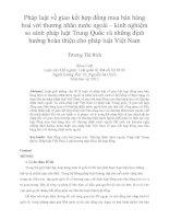 Pháp luật về giao kết hợp đồng mua bán hàng hoá với thương nhân nước ngoài – kinh nghiệm so sánh pháp luật trung quốc và những định hướng hoàn thiện cho pháp luật việt nam