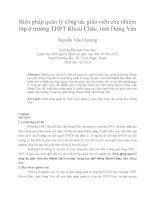 Biện pháp quản lý công tác giáo viên chủ nhiệm lớp ở trường THPT khoái châu, tỉnh hưng yên