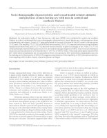 Tài liệu Socio-demographic characteristics and sexual health related attitudes and practices of men having sex with men in central and southern Malawi doc