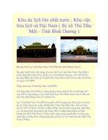 Tài liệu Khu du lịch lớn nhất nước : Khu văn hóa lịch sử Đại Nam ( thị xã Thủ Dầu Một - Tỉnh Bình Dương ) docx