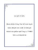 Tài liệu LUẬN VĂN: Hoàn thiện Công Tác Kế toán hạch toán chi phí sản xuất và tính giá thành sản phẩm tại Công ty TNHH TM và XNK DVD pptx