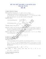 Tài liệu Đề thi thử đại học 2013 Môn Toán khối B Đề 40 doc