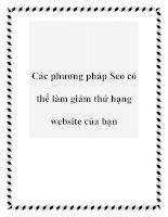 Tài liệu Các phương pháp Seo có thể làm giảm thứ hạng website của bạn pdf