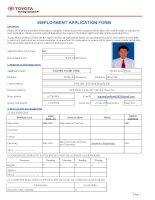 Instruction & application form   (TMV) TOYOTA