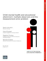 Tài liệu Child mental health and educational attainment: multiple observers and the measurement error problem ppt