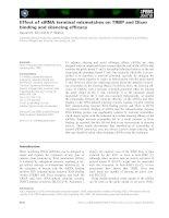 Tài liệu Báo cáo khoa học: Effect of siRNA terminal mismatches on TRBP and Dicer binding and silencing efficacy pdf