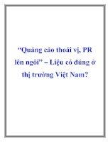 """Tài liệu """"Quảng cáo thoái vị, PR lên ngôi"""" – Liệu có đúng ở thị trường Việt Nam? doc"""