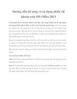 Tài liệu Hướng dẫn bổ sung và sử dụng nhiều tài khoản trên MS Office 2013 ppt