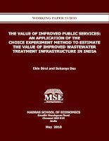 Tài liệu THE VALUE OF IMPROVED PUBLIC SERVICES: AN APPLICATION OF THE CHOICE EXPERIMENT METHOD TO ESTIMATE THE VALUE OF IMPROVED WASTEWATER TREATMENT INFRASTRUCTURE IN INDIA docx
