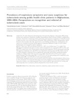 Tài liệu Prevalence of respiratory symptoms and cases suspicious for tuberculosis among public health clinic patients in Afghanistan, 2005–2006: Perspectives on recognition and referral of tuberculosis cases doc