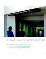 Tài liệu PLEASE GIVE NORBERT WEINER (AND OTHER CURIOUS DEVELOPMENTS IN THE WORK OF JANET ZWEIG) doc