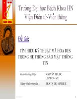 Tài liệu Đề tài: TÌM HIỂU KỸ THUẬT MÃ HÓA DES TRONG HỆ THỐNG BẢO MẬT THÔNG TIN potx
