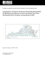Tài liệu Investigation of Organic Chemicals Potentially Responsible for Mortality and Intersex in Fish of the North Fork of the Shenandoah River, Virginia, during Spring of 2007 ppt