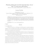 Phương pháp giải các bài toán hóa học vô cơ lớp 12 trung học phổ thông