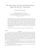 Xác định lượng vết thủy ngân bằng phương pháp chiết pha rắn   quang học