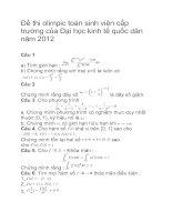 Tài liệu Đề thi olimpic toán sinh viên cấp trường của Đại học kinh tế quốc dân năm 2012 pdf