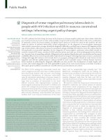 Tài liệu Diagnosis of smear-negative pulmonary tuberculosis in people with HIV infection or AIDS in resource-constrained settings: informing urgent policy changes docx