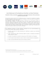 Tài liệu Joint Statement of the Healthcare Coalition on Data Protection doc