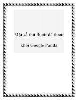 Tài liệu Một số thủ thuật để thoát khỏi Google Panda pot