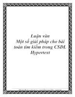 Một số giải pháp cho bài toán tìm kiếm trong CSDL Hypertext