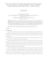 Dạy học phân hóa phần phương trình lượng giác trong chương trình toán lớp 11, ban cơ bản