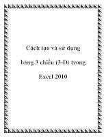 Tài liệu Cách tạo và sử dụng bảng 3 chiều (3-D) trong Excel 2010 docx
