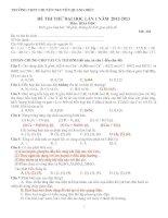 đề thi thử đại học lần 1 năm 2013 môn hoá - trường thpt chuyên nguyễn quang diệu (mã đề 101)