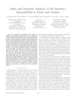Tài liệu Static and Dynamic Analysis of the Internet's Susceptibility to Faults and Attacks docx