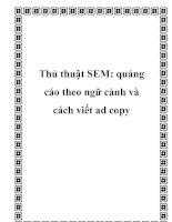 Tài liệu Thủ thuật SEM: quảng cáo theo ngữ cảnh và cách viết ad copy ppt