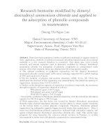 Nghiên cứu biến tính bentonit bằng dimetyl dioctadecyl amoni clorua và ứng dụng để hấp phụ các hợp chất phenol trong nước bị ô nhiễm