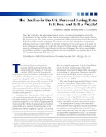 Tài liệu The Decline in the U.S. Personal Saving Rate: Is It Real and Is It a Puzzle? pptx