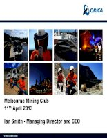 Tài liệu Melbourne Mining Club Ian Smith - Managing Director and CEO pdf