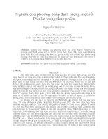 Nghiên cứu phương pháp định lượng một số phtalat trong thực phẩm