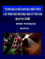 tương quan giữa kết quả phân tích các tính chất hoá học hoá lý với cảm quan vị cà phê