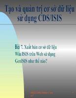 Tài liệu Bài 7. Xuất bản cơ sở dữ liệu Win/ISIS trên Web sử dụng GenISIS như thế nào? doc