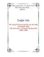 Xây dựng Chương trình đào tạo cho nhân viên ngành Thép Việt Nam phục vụ công tác áp dụng ISO 14001:2004