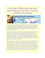 Tài liệu Cẩn trọng với đầu tư gián tiếp nước ngoài thông qua việc đầu tư vào mua cổ phiếu doanh nghiệp pdf