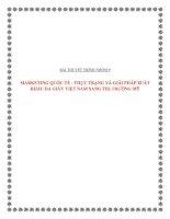 Tài liệu Tiễu luận:MARKETING QUỐC TẾ - THỰC TRẠNG VÀ GIẢI PHÁP XUẤT KHẨU DA GIÀY VIỆT NAM SANG THỊ TRƯỜNG MỸ doc