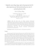 Nghiên cứu tổng hợp một số peracetyl β d glucopyranosyl thiosemicarbazon của 4 acetylsydnone thế