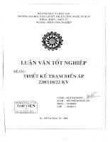 thiết kế trạm biến áp 220/110/22kv