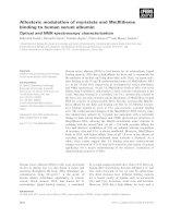 Tài liệu Báo cáo khoa học: Allosteric modulation of myristate and Mn(III)heme binding to human serum albumin Optical and NMR spectroscopy characterization pptx