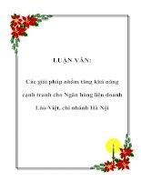 Tài liệu LUẬN VĂN: Các giải pháp nhằm tăng khả năng cạnh tranh cho Ngân hàng liên doanh Lào-Việt, chi nhánh Hà Nội ppt